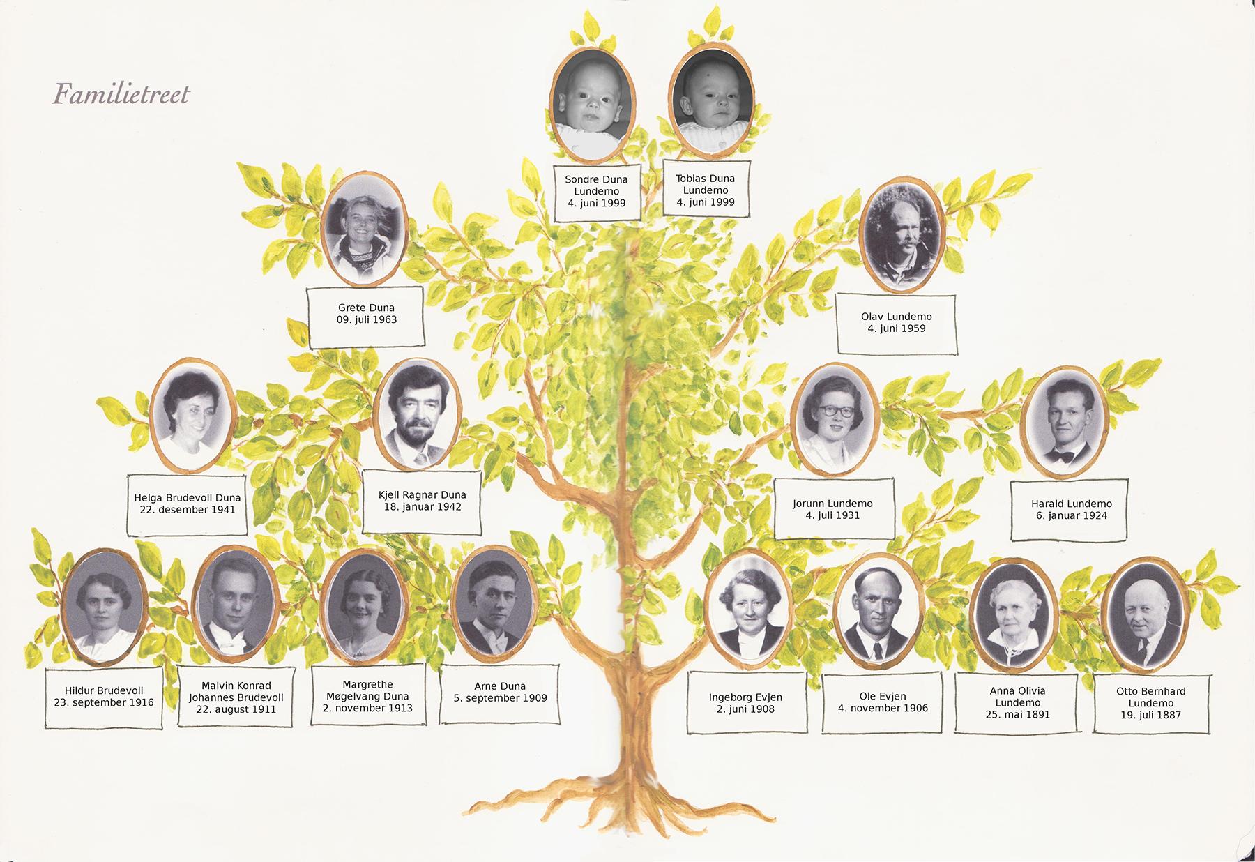 Sondre og Tobias sine nærmeste forfedre og -mødre